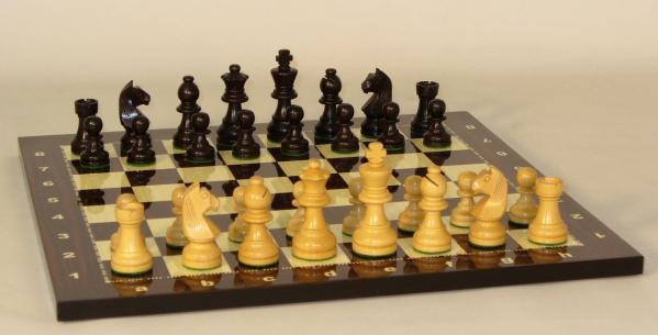 Chess Board: 2.75'' Black/Natural German on Alpha Numeric 14'' Decoupage Board