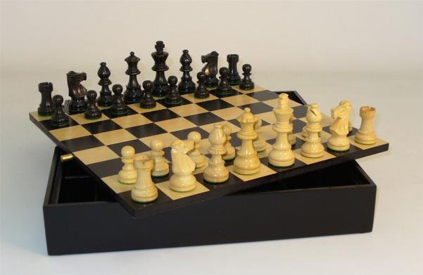 Chess Set: 3'' Black French Chess Set on Chest