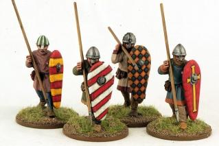 28mm Ancients: (Viking Age) Norman Unarmoured Infantry Advancing (4)