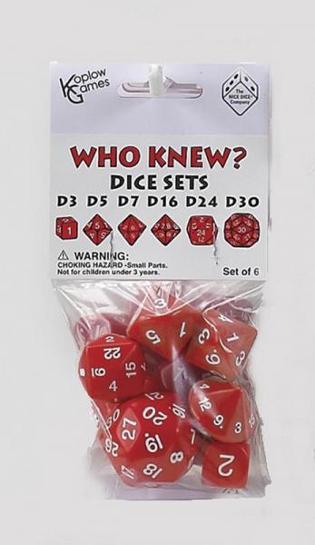 Who Knew? Red w/White Dice Set [d3, d5, d7, d16, d24, d30]