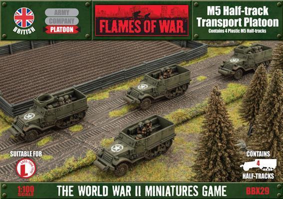 Flames Of War (WWII): (British) M5 Halftrack Transport Platoon (Plastic)