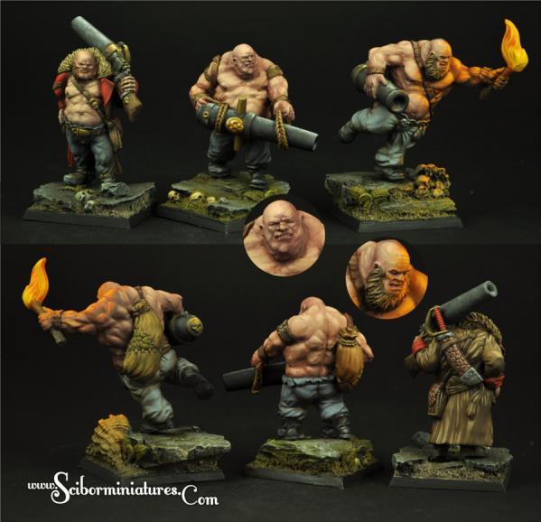 28mm Fantasy Miniatures:  Ogres Guners set (3)