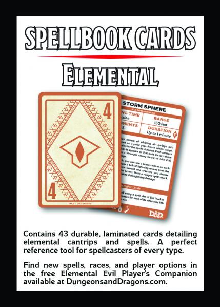 Dungeons & Dragons 5th Edition RPG: Elemental Spell Deck (43 cards)
