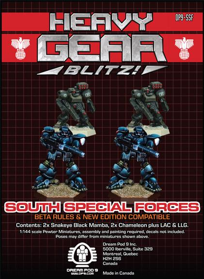 Heavy Gear: Southern Special Forces Squad (4 minis: 2xChameleon, 2xSnakeyeBlackMamba)