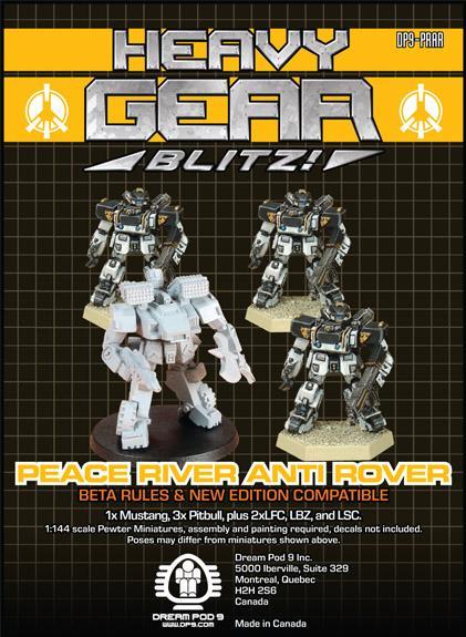 Heavy Gear: P.R.D.F. Anti-Rover Squad (4 minis: 3xPitbull, 1xMustang)