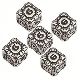Exotic Dice Sets: Metal D6 Tech Dice (5) BOX