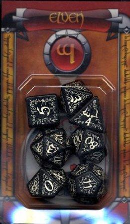 Elven Dice: Black & Glow-in-the-Dark Elvish Dice (7)