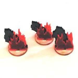 Game Tokens: 4Ground 3x 1'' Flaming Wreckage Markers