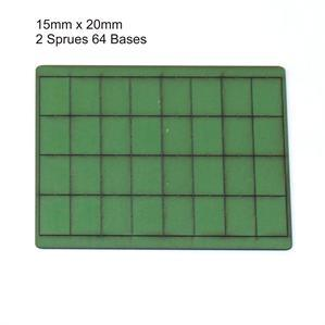 4Ground Pre-primed Miniature Bases: 15mm x 20mm Bases (64) - Green