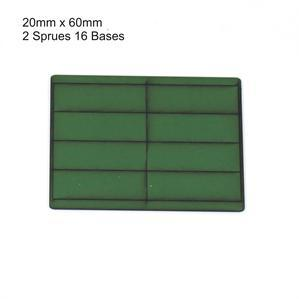 4Ground Pre-primed Miniature Bases: 20mm x 60mm Bases (16) - Green