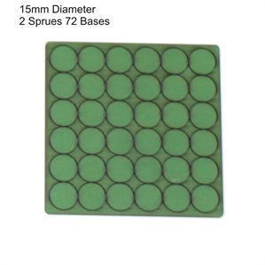 4Ground Pre-primed Miniature Bases: 15mm Diameter Bases (72) - Green