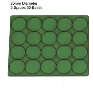 4Ground Pre-primed Miniature Bases: 25mm Diameter Bases (60) - Green