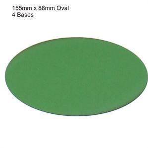 4Ground Pre-primed Miniature Bases: 155mm x 88mm Oval Bases (4) - Green