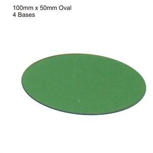 4Ground Pre-primed Miniature Bases: 100mm x 50mm Oval Bases (4) - Green