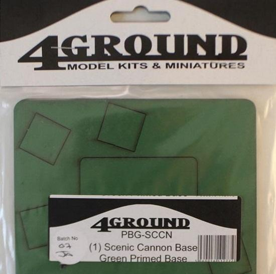 4Ground Pre-primed Miniature Bases: (1) Scenic Cannon Base - Green