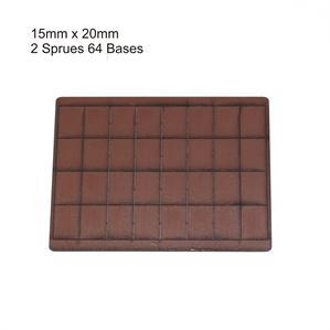 4Ground Pre-primed Miniature Bases: 15mm x 20mm Bases (64) - Brown