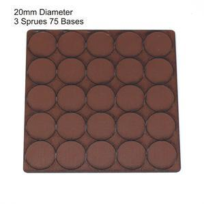 4Ground Pre-primed Miniature Bases: 20mm Diameter Bases (75) - Brown