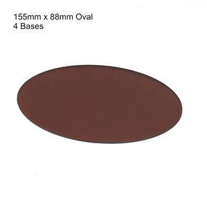 4Ground Pre-primed Miniature Bases: 155mm x 88mm Oval Bases (4) - Brown