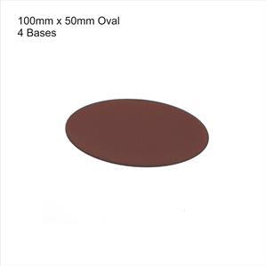 4Ground Pre-primed Miniature Bases: 100mm x 50mm Oval Bases (4) - Brown