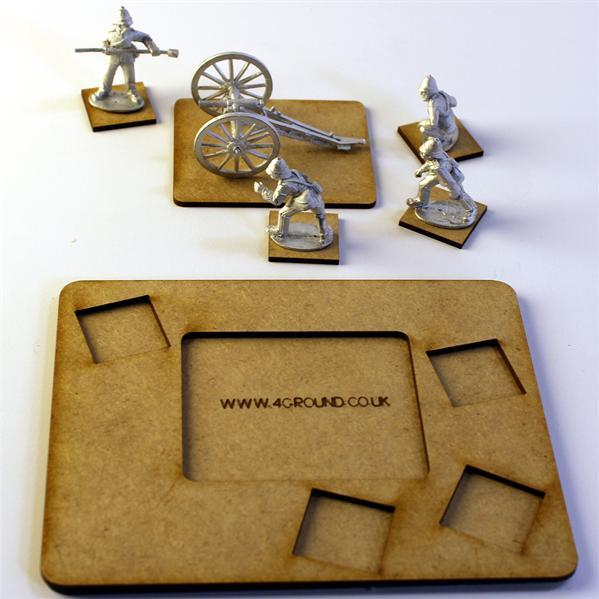 4Ground Pre-primed Miniature Bases: (1) Scenic Cannon Base - Brown