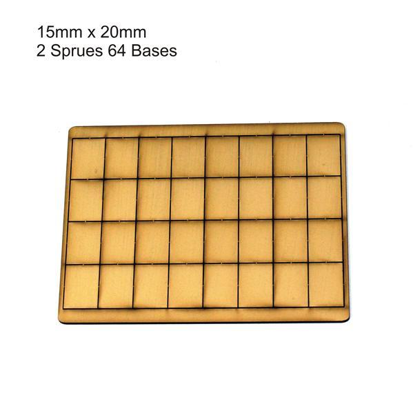 4Ground Pre-primed Miniature Bases: 15mm x 20mm Bases (64) - Tan