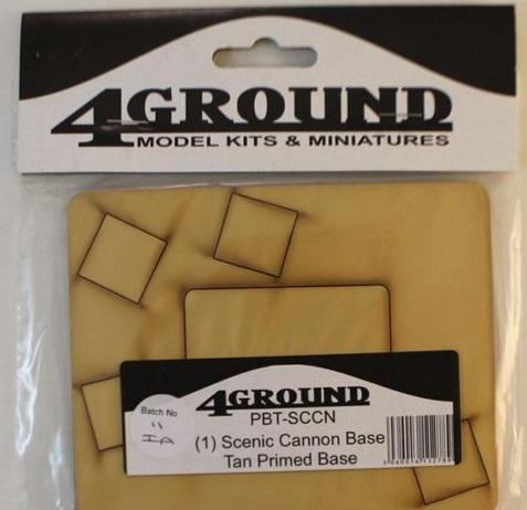 4Ground Pre-primed Miniature Bases: (1) Scenic Cannon Base - Tan
