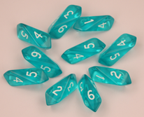 Crystal Caste Dice Sets: Crystal Translucent d6 10 pc set - Aqua