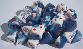 Chessex Dice Sets: Gemini #7 d10 Astral Blue-White/red (10)