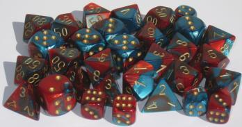 Chessex Dice Sets: Gemini #7 d10 Red-Teal/gold (10)