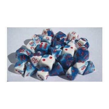 Chessex RPG Dice Sets: Gemini # 7 Astral Blue-White/red Polyhedral 7-Die Set