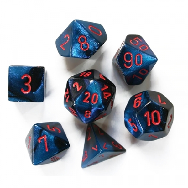Chessex RPG Dice Sets: Gemini # 7 Black-Starlight/red Polyhedral 7-Die Set