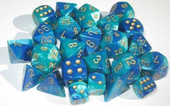 Chessex RPG Dice Sets: Gemini # 7 Blue-Teal/gold Polyhedral 7-Die Set