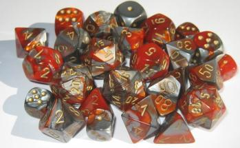 Chessex RPG Dice Sets: Gemini # 7 Orange-Steel/gold Polyhedral 7-Die Set