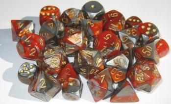 Chessex Dice Sets: Gemini # 7 16mm d6 Orange-Steel/gold (12)