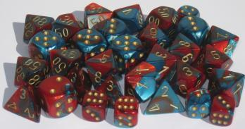 Chessex Dice Sets: Gemini # 7 16mm d6 Red-Teal/gold (12)