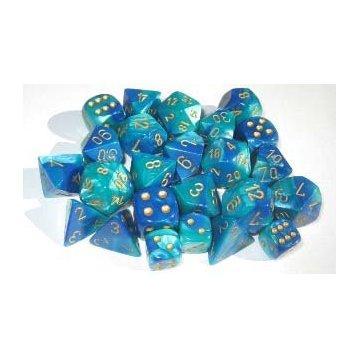 Chessex Bulk Dice Sets: Blue-Teal/gold Gemini Bag of 20