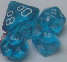 Teal/White Transparent Mini-Polyhedral 7-Die Set