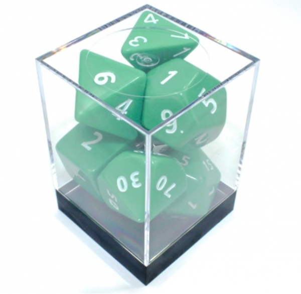 Green/White JUMBO Opaque Polyhedral 7-Die Set