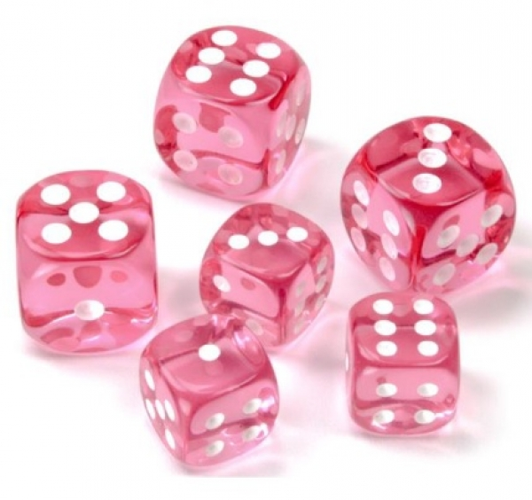 Pink/White Translucent 16mm d6 (12)