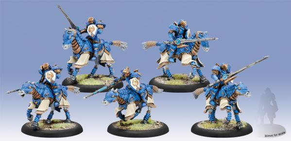 Warmachine: (Cygnar) Storm Lances Cavalry Unit (5) (resin & white metal)