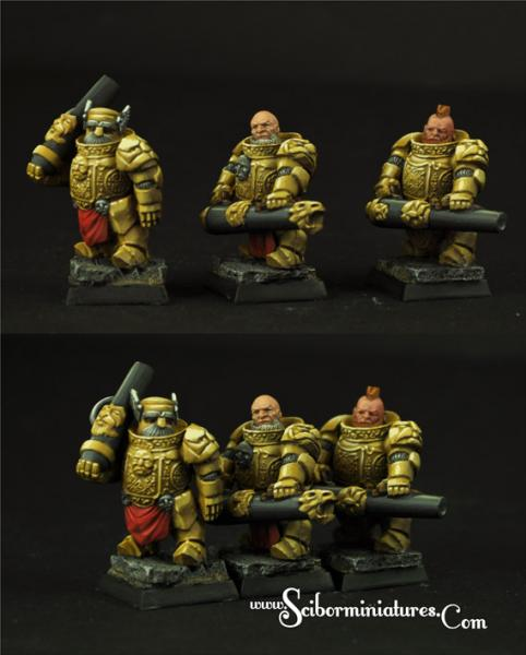 28mm Fantasy Miniatures: Dwarven Cannoneers set#1 (3)