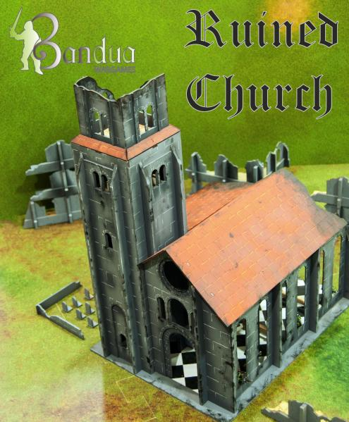 Miniature Terrain:  Ruined Church (pre painted)