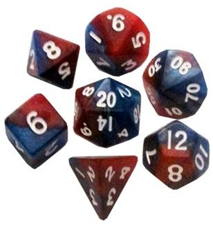 Mini Polyhedral Dice Set: Red/Blue with White Numbers