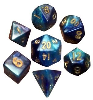 Mini Polyhedral Dice Set: Dark Blue/Light Blue with Gold Numbers
