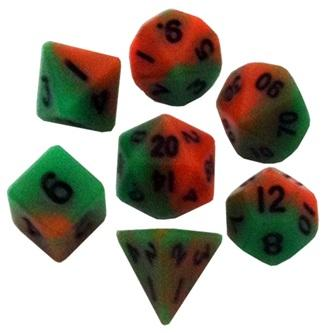 Mini Polyhedral Dice Set: Orange/Green with Black Numbers