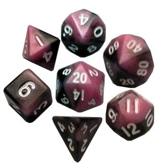 Mini Polyhedral Dice Set: Pink/Black with White Numbers