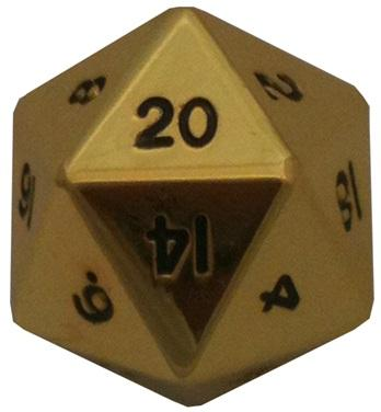 Metallic Dice: 35mm Mega Metal d20 Die: Gold