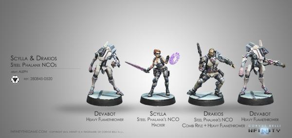 Infinity (#520) ALEPH: Drakios & Scylla, Steel Phalanx NCOs