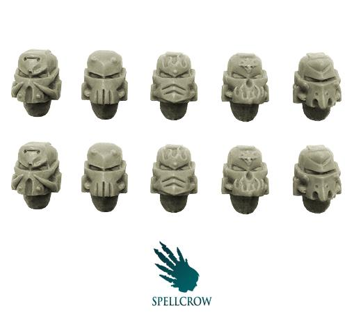28mm Sci-Fi -  Space Knights: Salamander / Dragon Space Knights helmets (Forge pattern)