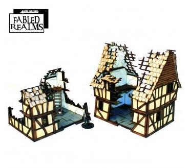 28mm Fabled Realms: Mordanburg Damaged Dwellings 1